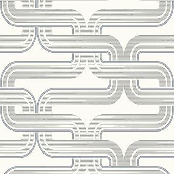 Arthouse Geometric Wallpaper Retro Silver White Luxury Designer Quality Pattern