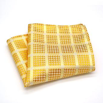 Golden orange & stitch silver pattern pocket square