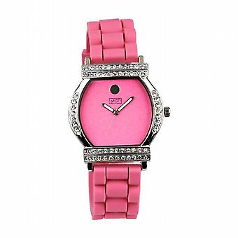 Eton Crystal Barrel Pink Dial Pink Strap Ladies Fashion Watch 2999J