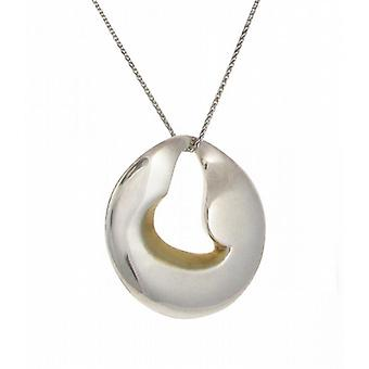 "Cavendish French Silver and gold vermeil heart disc pendant with 16 - 18"" Silver Chain"