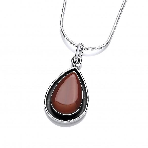Cavendish French Silver and Red Jasper Teardrop Pendant