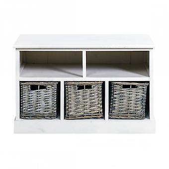 Rebecca Möbelbank Bench White Container 3 Körbe Brown Wicker Shabby Chic sitzenden Eingang