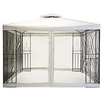 Charles Bentley Steel Art Cream Gazebo Party Tent with Fly Screen Ground Pegs And Guide Ropes - 3M X 3M