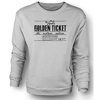 Womens Sweatshirt Willy Wonkas Ticket - Movie - BW - grappig