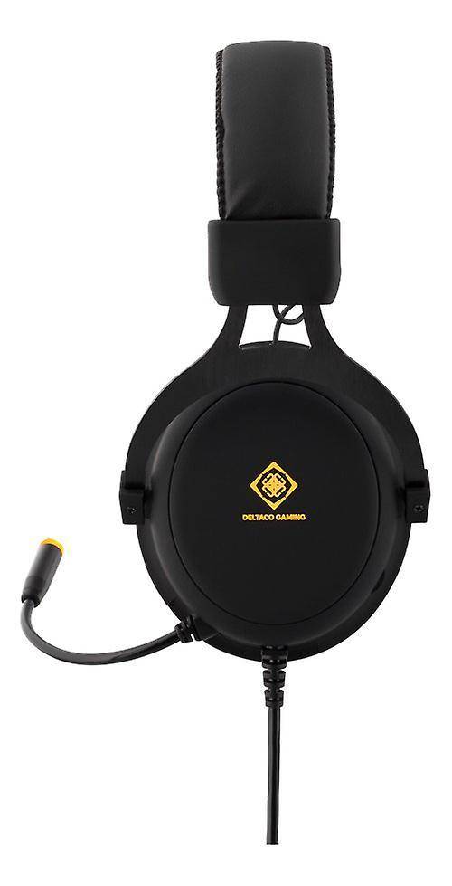 DELTACO GAMING headset, 57mm element, LED, svart