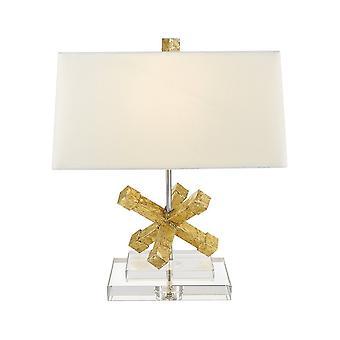 Vergulde Nola verguld Nola Jackson Crystal Base met crème linnen Tapered rechthoekige schaduw tafel lamp