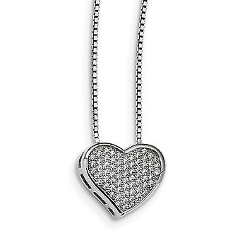925 Sterling Silver Pave Spring Ring Rhodium-plated and Cubic Zirconia Brilliant Embers Heart Necklace - 18 Inch