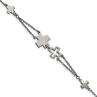 Edelstahlkreuz Armband - 7,5 Zoll