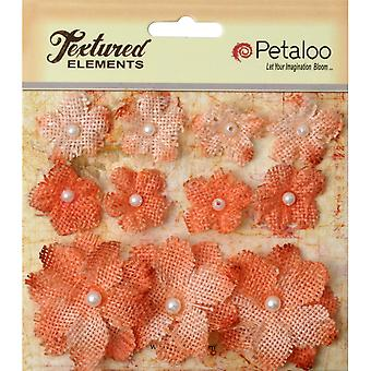 Textured Elements Burlap Mini Flowers .75