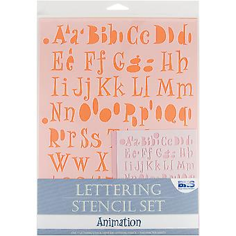 Lettering Stencil 4 Piece Sets Animation Bhs Lset 111
