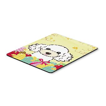 White Poodle Easter Egg Hunt Mouse Pad, Hot Pad or Trivet BB1939MP