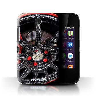 STUFF4 Case/Cover for Nokia Asha 230/Black/Red/Alloy Wheels