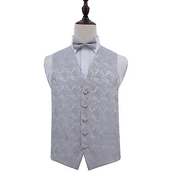 Silver Paisley Patterned Wedding Waistcoat & Bow Tie Set