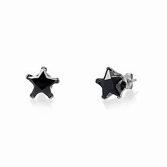 Urban Male Sterling Silver 8mm Black Star CZ Stud Earrings
