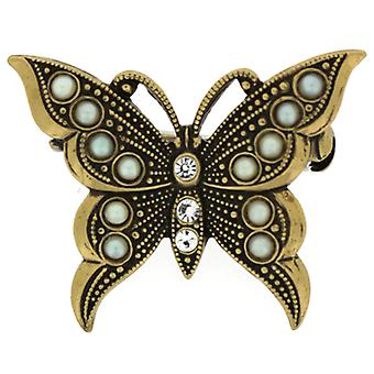 Cavendish French Elizabethan Gold & Crystal Butterfly Brooch