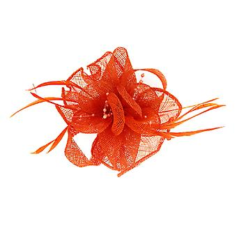 Orange Beads Feather  and  Mesh Corsage Hair Fascinator  Brooch  Accessory