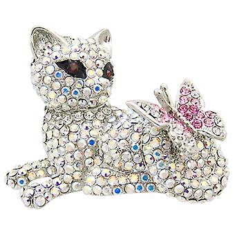 Butler  and  Wilson Crystal Lying Down Cat  and  Butterfly Brooch