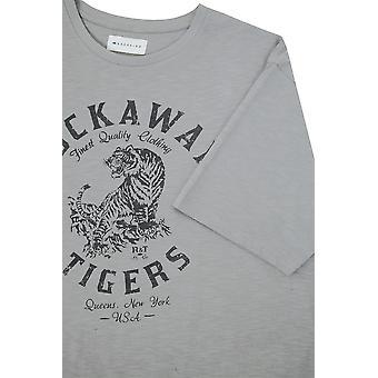 BadRhino Grey 'Rockaway Tigers' Print Crew Neck Slub Jersey T-Shirt