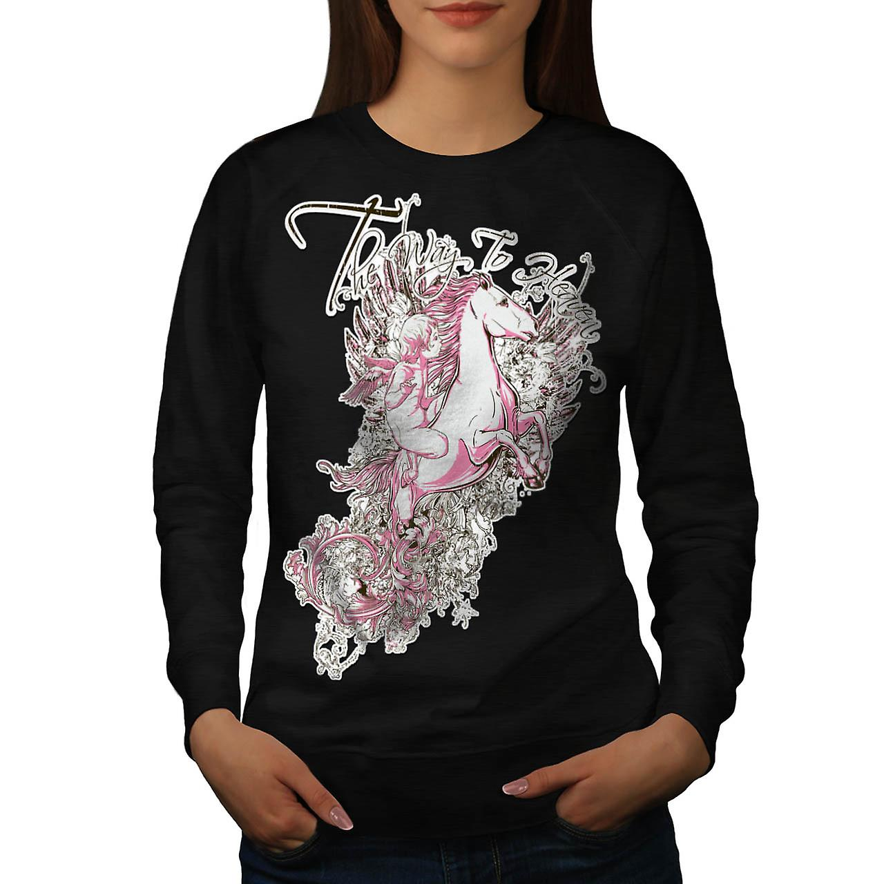 Way To Heaven Myth Unicorn Soul Women Black Sweatshirt | Wellcoda