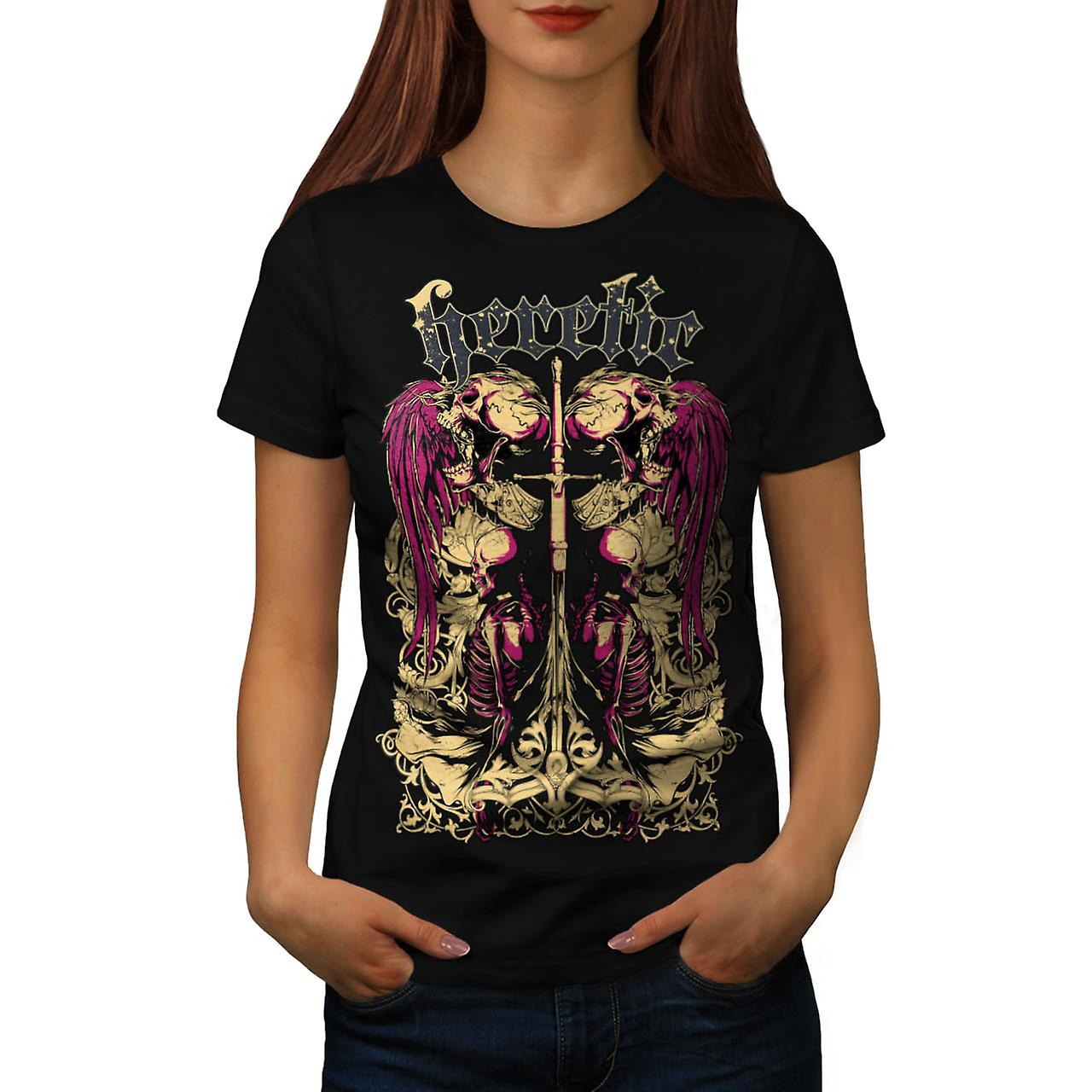 Heretic Monster Death Dead Skull Women Black T-shirt | Wellcoda