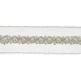 Beaded Tulle W/Pearls Trim 1-1/4
