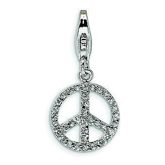 Sterling Silver Small Cubic Zirconia Peace Sign With Lobster Clasp Charm - Measures 24x12mm
