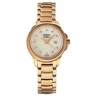 Rotary Womans Rose Gold Plated Strap Pearl Dial LB90120/41 Watch