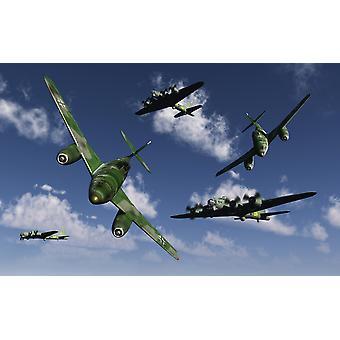 Una coppia del tedesco Messerschmitt Me 262 jetfighters attaccare i bombardieri americani B-17 Flying Fortress sopra nazista occupato Europa Poster Print