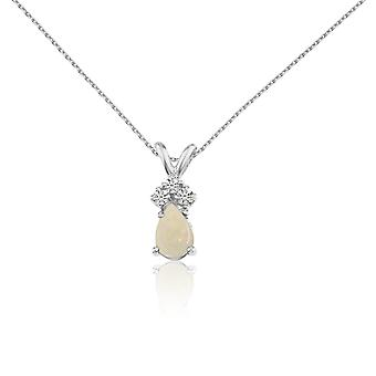 14k White Gold Opal Pear Pendant with Diamonds and 18