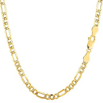 14k Yellow Gold Hollow Figaro Chain Necklace, 3.5mm