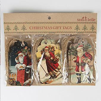 Sass and Belle Christmas Scene Gift Tags Retro Vintage Style x 15