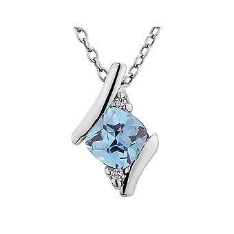 Created Blue Topaz Checkerboard Pendant Necklace 2/5 Carat (ctw) with Diamonds in Sterling Silver with Chain