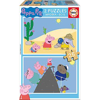 Educa Peppa Pig Puzzle Madera Doble 2X25