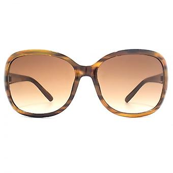 M:UK Notting Hill Classic Wrap Sunglasses In Amber Brown Stripe