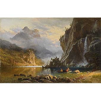 Albert Bierstadt - Indians Spear Fishing Poster Print Giclee