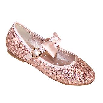 Girls rose gold glitter ballerina shoes with detachable satin bow
