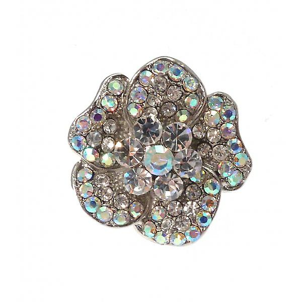 W.A.T Shimmering Clear Crystal Flower Ring