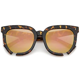 Oversize Notch Detail Square Colored Mirror Flat Lens Horn Rimmed Sunglasses 54mm