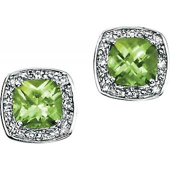 Elements Gold Kaleidoscope 9ct White Gold Peridot and Diamond Pave Stud Earrings - Green/White Gold