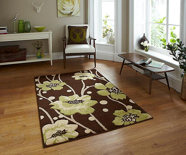 Vérone 216 Brown-Vert Marron et vert Rectangle Tapis Tapis modernes