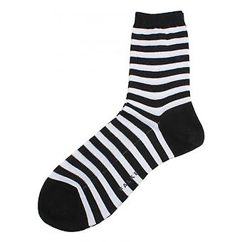 Falke Poplin Striped Socks - Black/White