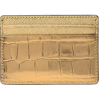 Michael Kors Jet Set Travel Metallic Embossed-Leather - Card Case - Gold - 32F7MF6D0E-710