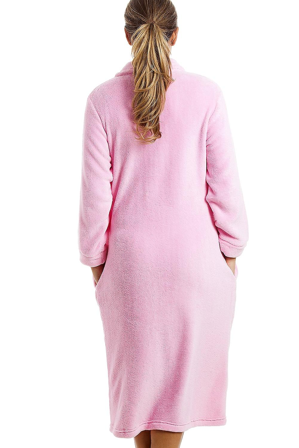 Camille Pink Button Up Front Long Fleece Housecoat