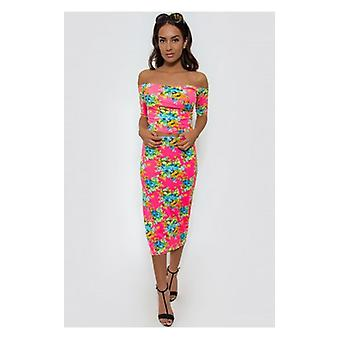 The Fashion Bible Flower Trip Pink Bardot Co-ord