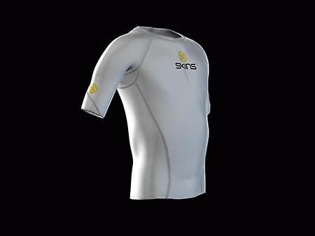 SKINS youth unisex organic Compression Short Sleeve Top white with grey stitching - B12005004