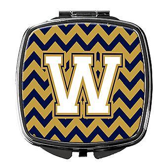 Buchstabe W-Chevron-Navy-Blau und Gold Taschenspiegel