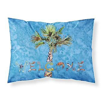 Welcome Palm Tree on Blue Fabric Standard Pillowcase