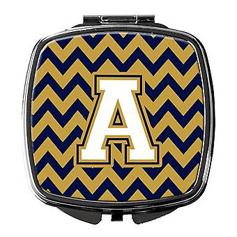 Letter A Chevron Navy Blue and Gold Compact Mirror