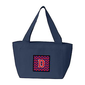 Letter D Chevron Yale Blue and Crimson Lunch Bag