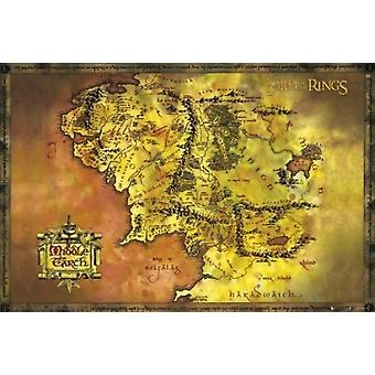 Lord of the Rings Middle Earth Map Poster Poster Print